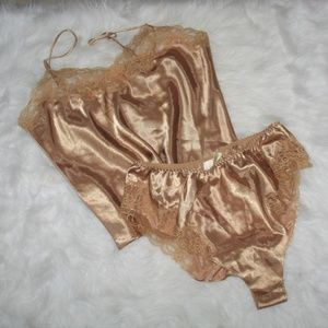 Delicates Gold Silky Camisole And Tap Shorts Set L